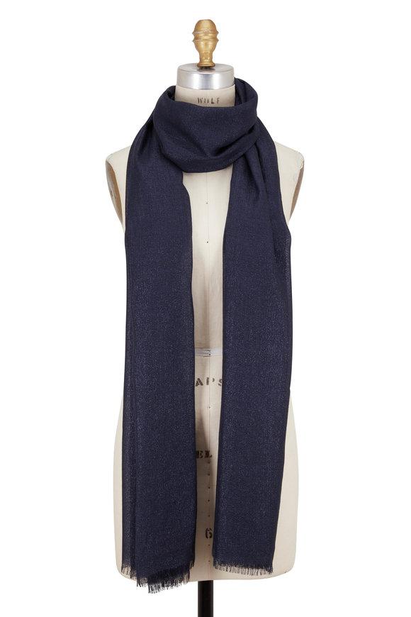 Brunello Cucinelli Navy Blue Cashmere & Silk Lurex Scarf