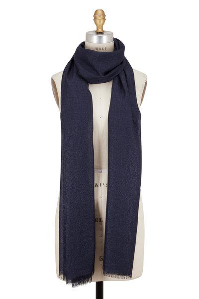 Brunello Cucinelli - Navy Blue Cashmere & Silk Lurex Scarf
