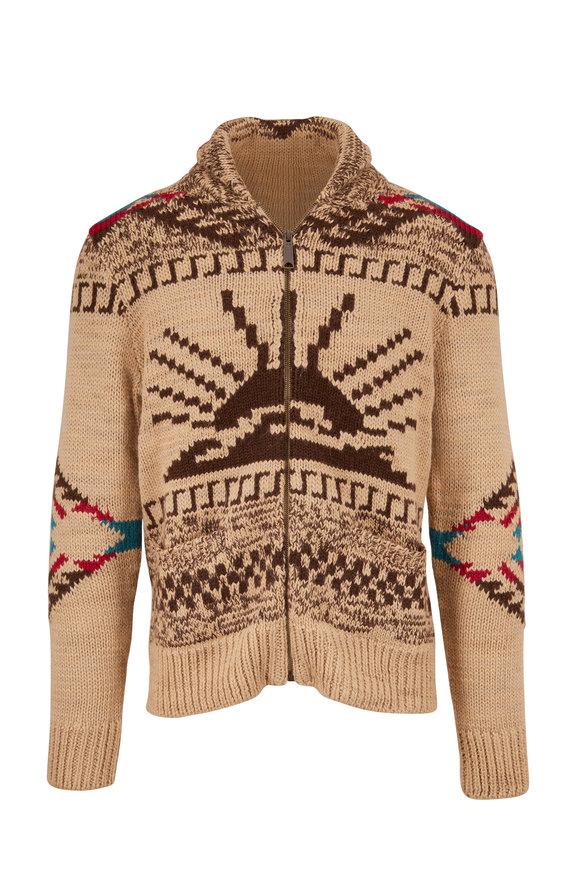 Faherty Brand Camel Sun & Waves Zip Cardigan