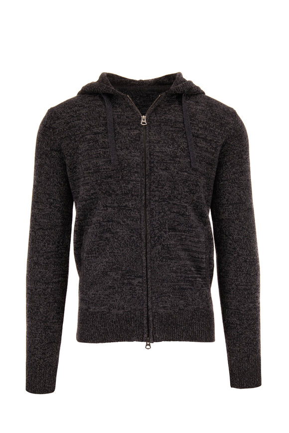 Faherty Brand Charcoal Gray Cashmere & Wool Zip-Up Hoodie