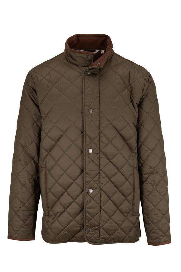 Peter Millar Suffolk Olive Quilted Coat