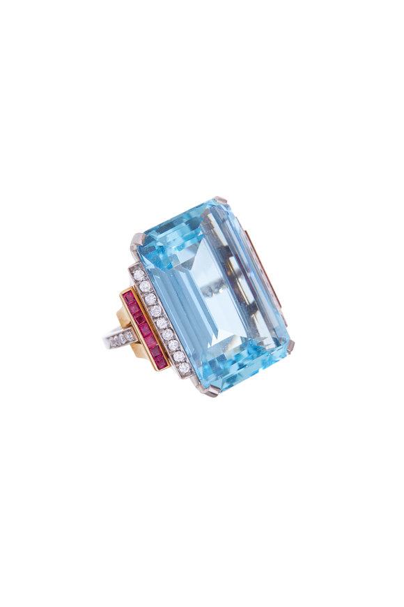 Fred Leighton Diamond & Aquamarine Retro Cocktail Ring