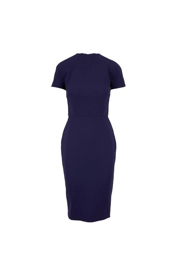 Victoria Beckham Navy Blue Fitted Crepe T-Shirt Dress