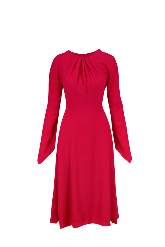 Victoria Beckham Pink Silk Twist Back Crepe Midi Dress
