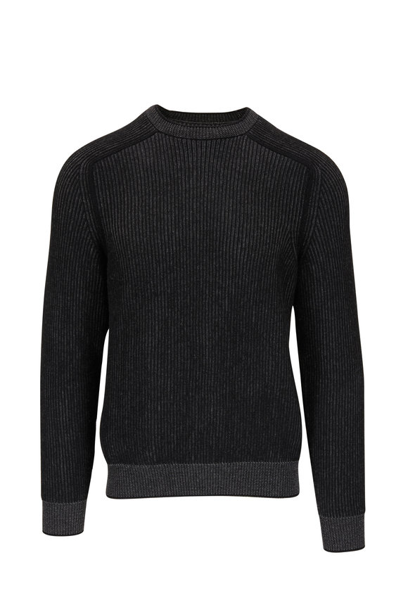 Sease Dinghy Black Cashmere Ribbed Reversible Sweater
