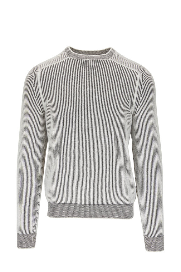 Sease Dinghy White Cashmere Ribbed Reversible Sweater