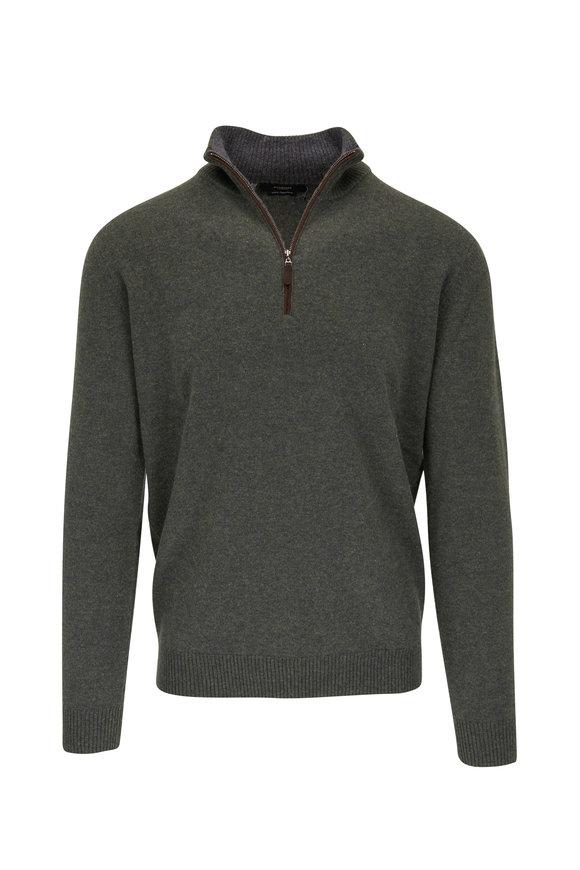 Kinross Forest Green Cashmere Quarter-Zip Pullover