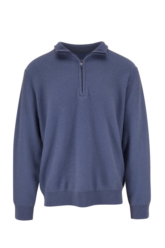 Vince Light Blue Cashmere Quarter-Zip Pullover