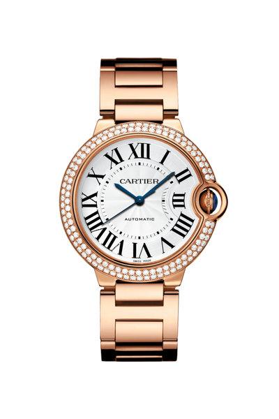 Cartier - 18K Rose Gold Diamond Ballon Bleu Watch, 36MM