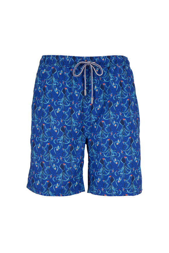 Peter Millar Seaside Blue Eight Deep Print Swim Trunks