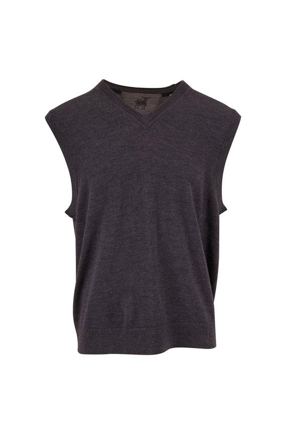 Raffi  Gray Merino Wool Sweater Vest