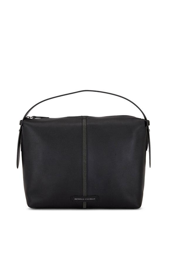 Brunello Cucinelli Black Leather Monili Stripe Small Hobo Bag