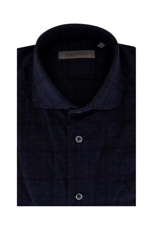 Corneliani Navy Blue Windowpane Cotton Jersey Sport Shirt