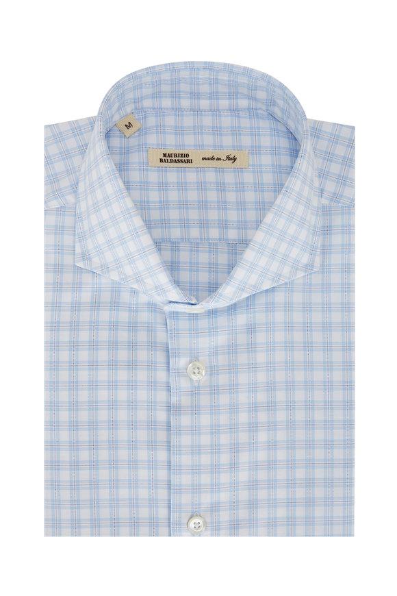 Maurizio Baldassari Light Blue & White Plaid Sport Shirt