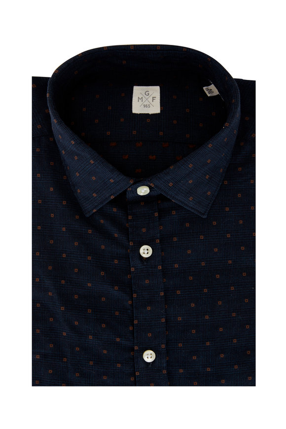 GMF Navy Blue Orange Dots Sport Shirt