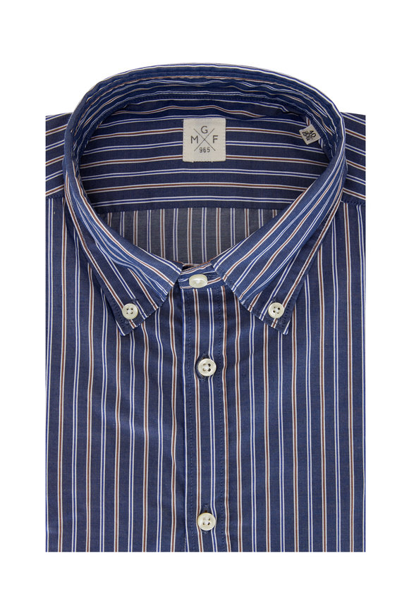 GMF Blue Multi Stripe Sport Shirt