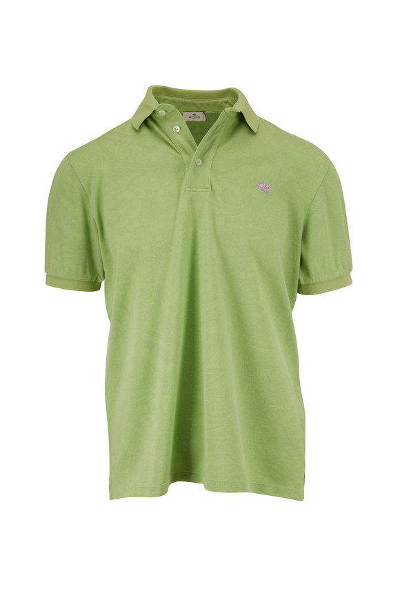 Etro Green Tonal Paisley Polo