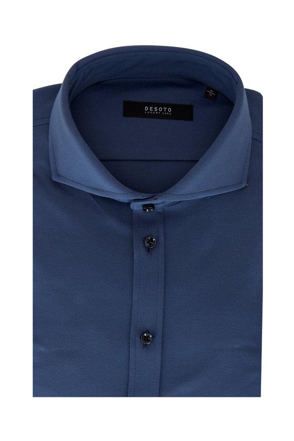 Desoto Medium Blue Cotton Jersey Sport Shirt