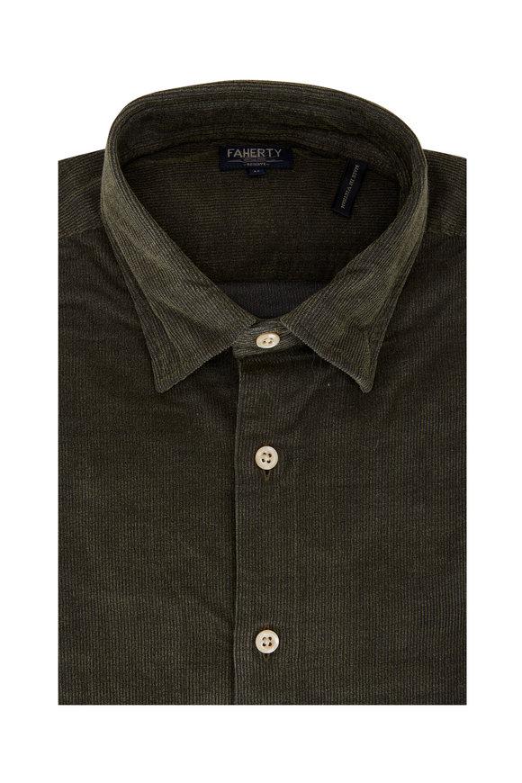 Faherty Brand Reserve Olive Green Corduroy Shirt