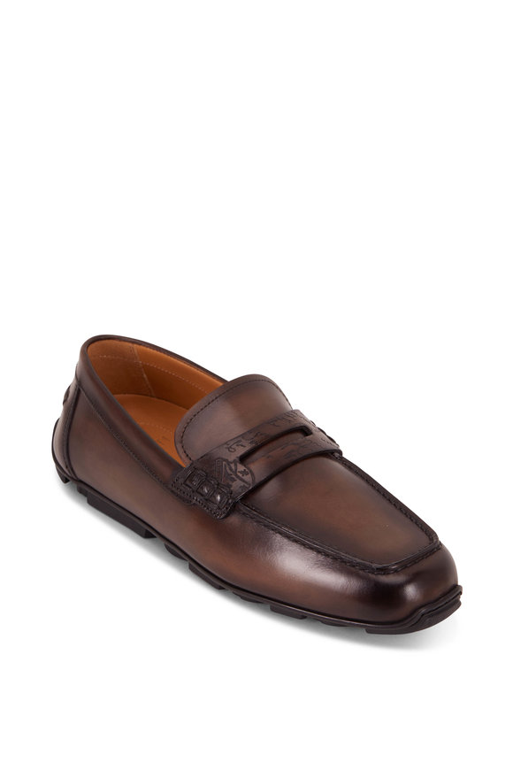 Berluti Saturnin Scritto Brown Leather Driving Loafer