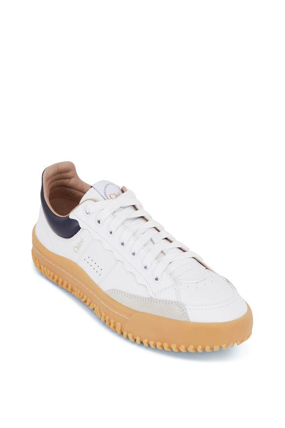 Chloé Franckie White & Blue Smooth Calfskin Sneaker