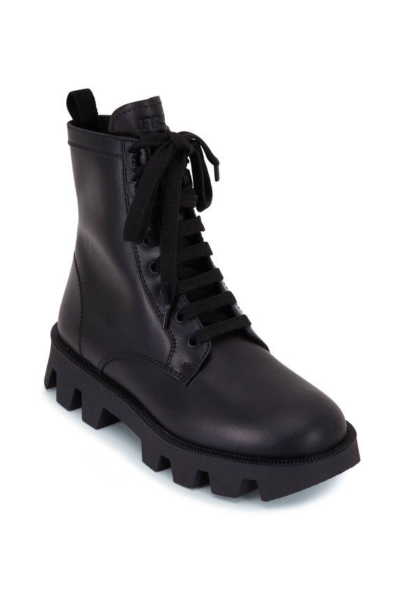 Prada Black Leather Lace-Up Combat Boot