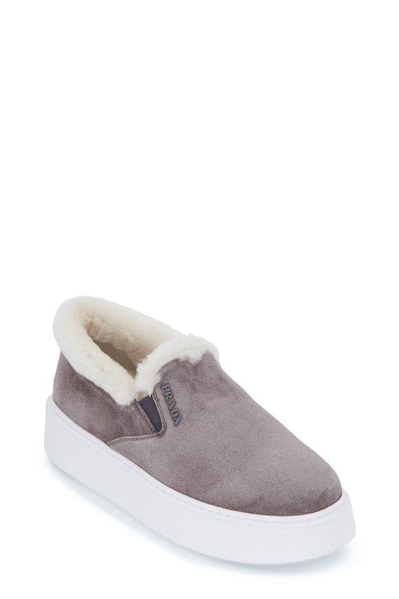 Prada Gray Shearling Lined Suede Slip-On Sneaker