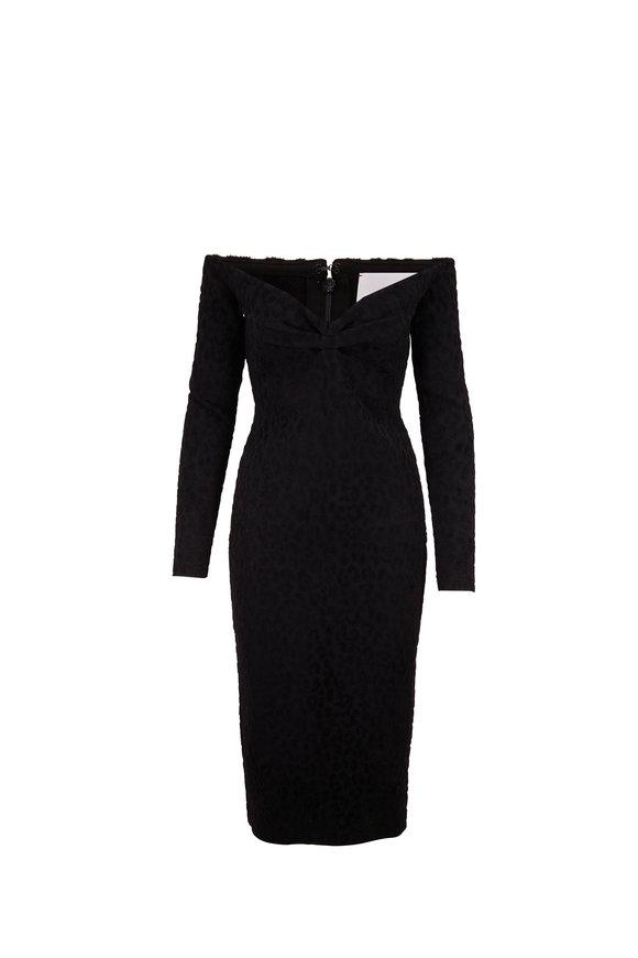 Carolina Herrera Black Monocolor Cheetah Print Midi Dress