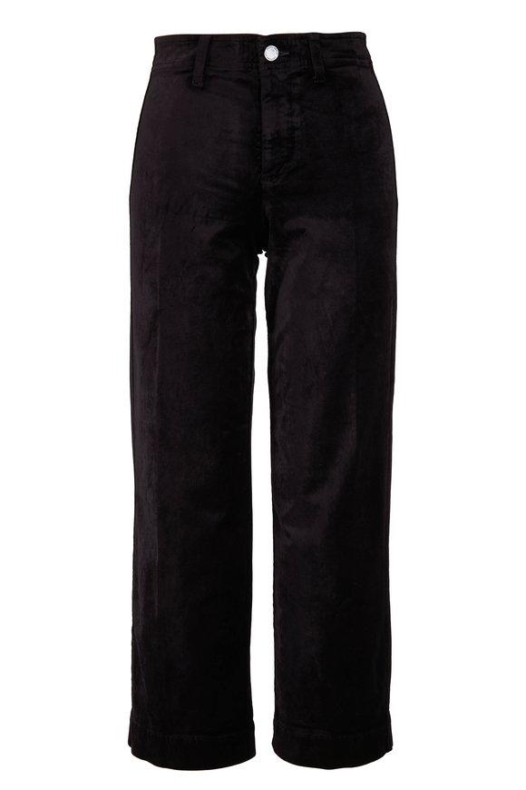 PAIGE Nellie Black Velvet Cropped Culottes