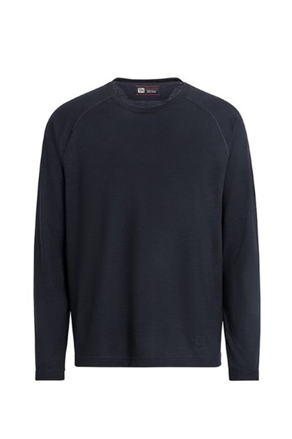 Z Zegna Navy Techmerino Raglan Sleeve Pullover