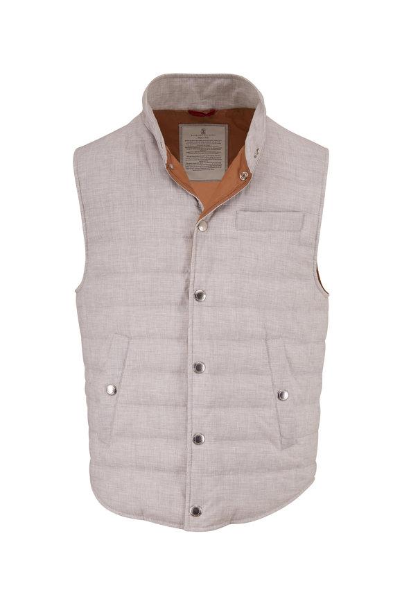 Brunello Cucinelli Pearl Gray Cotton Melange Vest