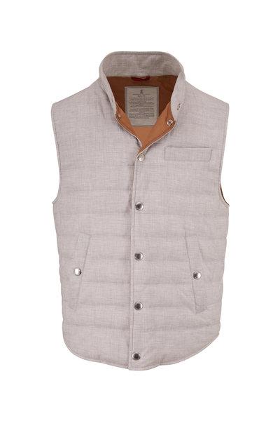 Brunello Cucinelli - Pearl Gray Cotton Melange Vest