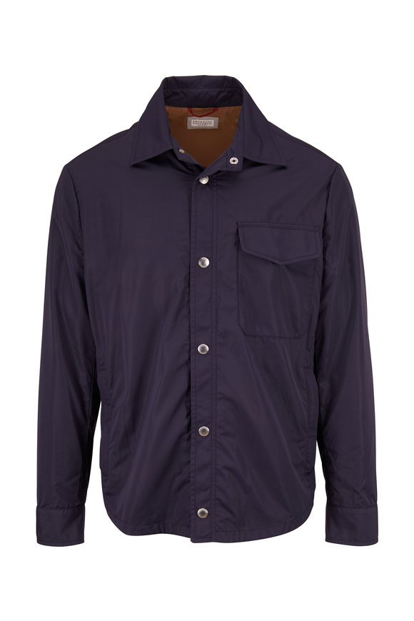 Brunello Cucinelli Navy Nylon Shirt Jacket