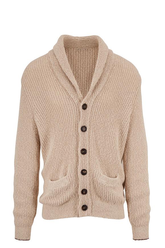 Brunello Cucinelli Tan Cotton & Linen Shawl Collar Cardigan