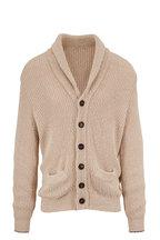 Brunello Cucinelli - Tan Cotton & Linen Shawl Collar Cardigan