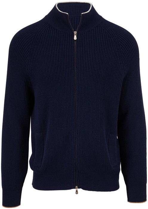 Brunello Cucinelli Navy Chunky Knit Front Zip Sweater
