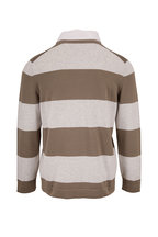 Brunello Cucinelli - Olive & Gray Stripe  Rugby Polo