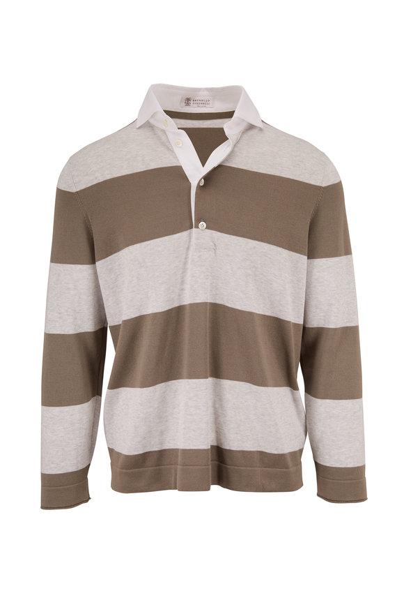 Brunello Cucinelli Olive & Gray Stripe  Rugby Polo