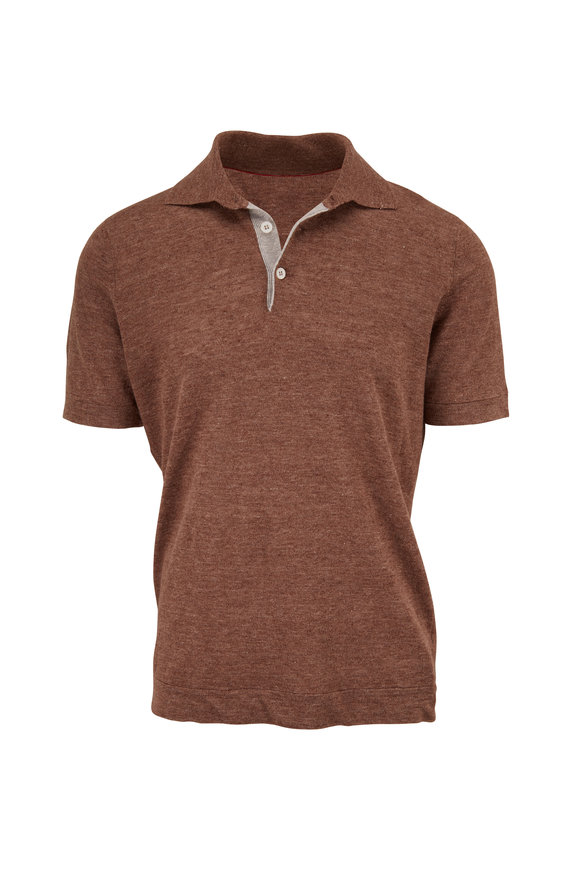Brunello Cucinelli Brown Linen & Cotton Short Sleeve Polo