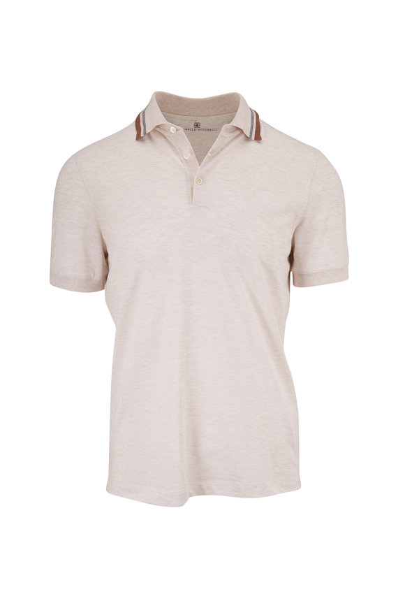 Brunello Cucinelli Oat Jersey Slim Fit Polo