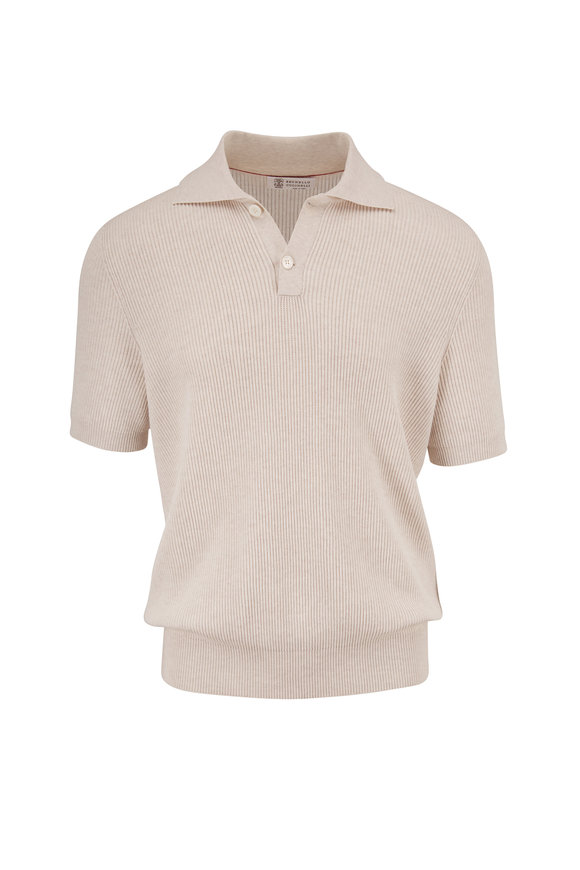 Brunello Cucinelli Sand Short Sleeve Ribbed Polo