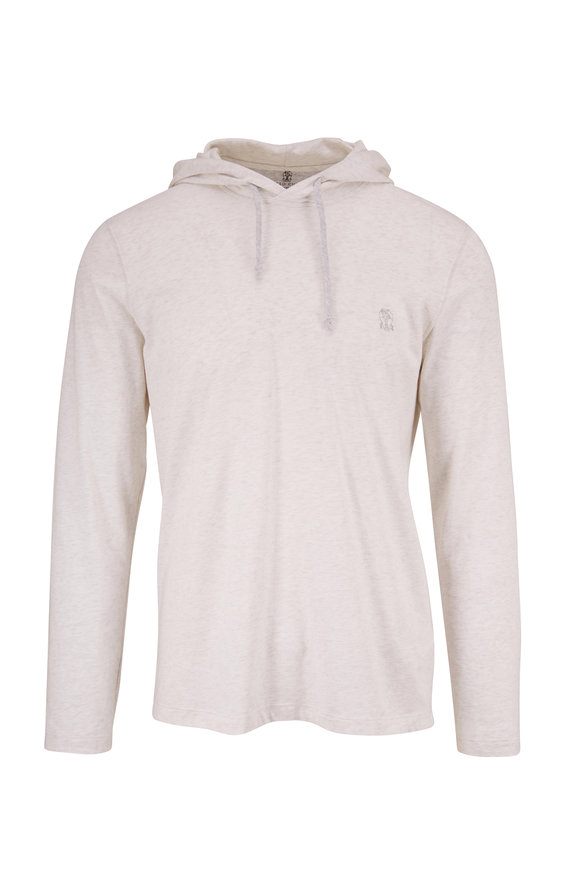 Brunello Cucinelli Pearl Gray Slim Fit Hoodie