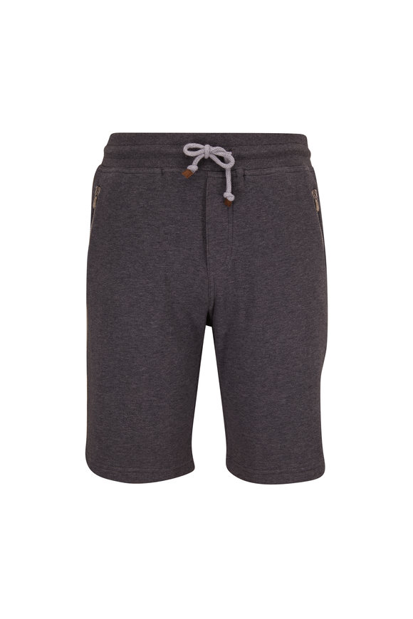 Brunello Cucinelli Charcoal Gray Jersey Shorts