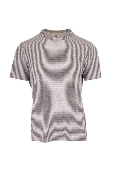 Brunello Cucinelli - Gray & White Stripe Stretch Linen Slim Fit T-Shirt