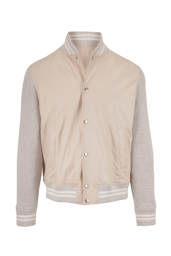 Brunello Cucinelli White & Gray Mixed Media Leather Jacket
