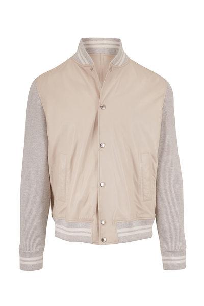 Brunello Cucinelli - White & Gray Mixed Media Leather Jacket