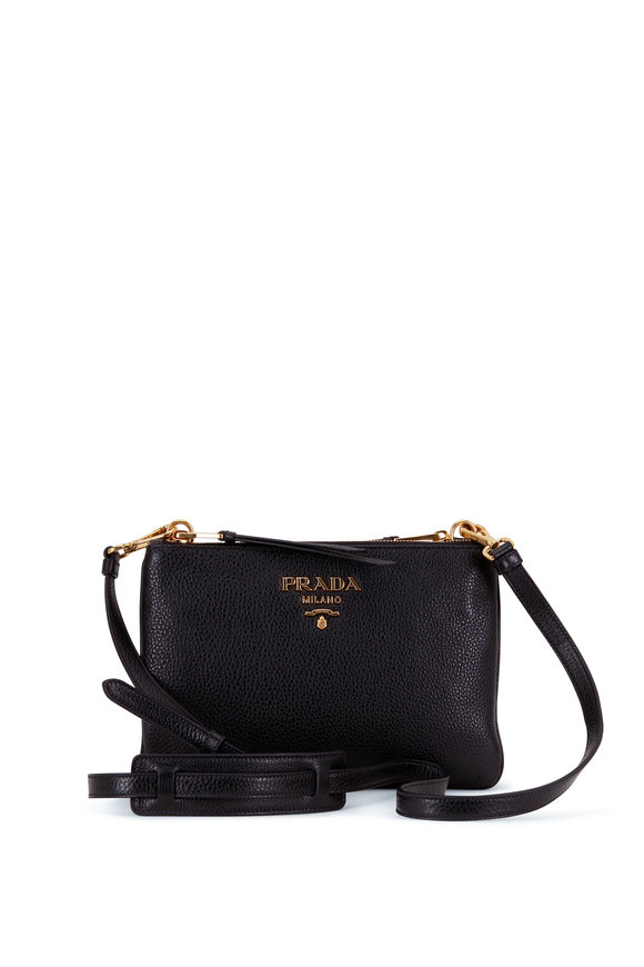 Prada Black Leather Double Zip Gusset Crossbody Bag