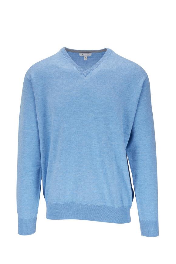 Peter Millar Blue Wool & Silk V-Neck Sweater