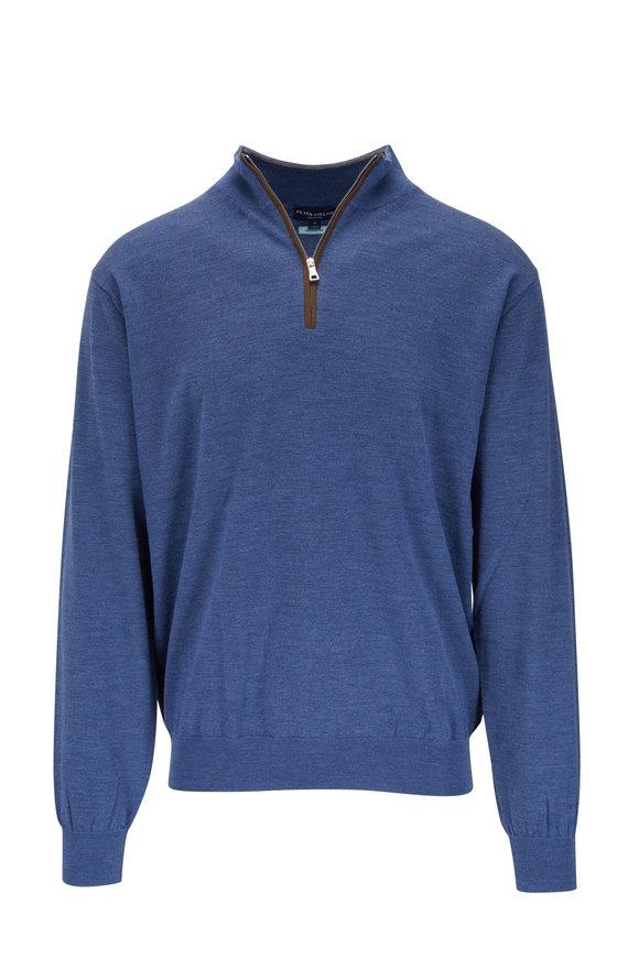 Peter Millar Blue Leather Trim Quarter-Zip Pullover