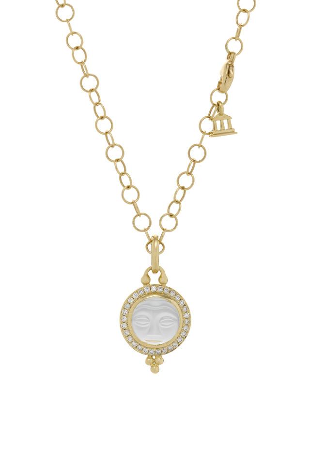 Crystal Moonface Diamond Gold Pendant